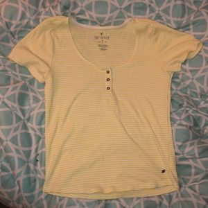 american eagle yellow striped tee